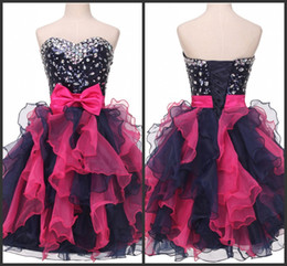 Wholesale Images Colourful Gowns - Short Mini Prom Dress Cheap Crystals Sequin Beading Homecoming Gown 2017 Shiny Party Dress Tiered Skirt Sweet 16 Gilrs Colourful Sexy