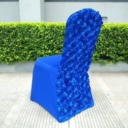 Wholesale Hotel Spandex - Banquet Chair Covers Spandex Cover European Rose Satin High-End Elastic Wedding Chair Covers Folding Hotel Supplies 3 Colors To Choose