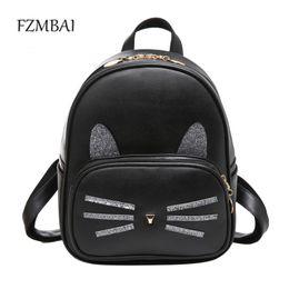 Wholesale College Korean Backpack - Wholesale- New Korean Kitty Backpack Female Sequins Fresh College Girl Leisure Bag
