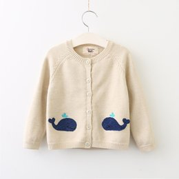 Wholesale Cartoon Mix Buttons - Girls Embroidery Knit Sweaters Kids Girls Fashion Cartoon Cardigan Baby Girl Autumn Button Outwear 2017 childrens clothing