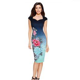 Wholesale Designer Lady S Dresses - Elegant Womens Flora Printed Dresses V Neck Knee Length Pencil Work Dresses Sleeveless Print Designer Ladies Dresses