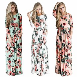 Wholesale Three Quarter Sleeve Long Dresses - 2017 Summer Boho Beach Dress Fashion Floral Printed Women Long Dress Three Quarter sleeve Loose Maxi Dress Vestidos