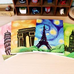 Wholesale Vintage Style European Tower - Wholesale- Hot Sale Vintage European Style Retro Painting Eiffel Tower Big Ben Painting Graffiti Sketchbook Notebook Drawing Creative Gift