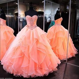 Wholesale Lace Up Corset Quinceanera Dress - 2018 Glamorous Coral Ball Gown Quinceanera Dresses Sweetheart Sweet 16 Princess Ruched Organza Floor Length Corset Back Pageant Gowns