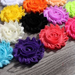 "Wholesale Wholesale Shabby Chic Fabric Flowers - Wholesale- 30pcs lot 2.6"" 15colors Fashion Chic Shabby Chiffon Flowers For Baby Hair Accessories 3D Frayed Fabric Flowers For Headbands"