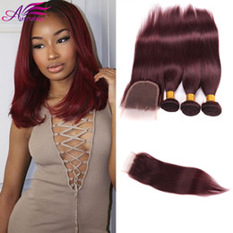 Wholesale Cheapest Brazilian Virgin Hair - 99J Brazilian Hair Bundles With Lace Closure 4X4 with 99J Burdundy Virgin Human Hair Bundles With Top Closure Cheapest Price