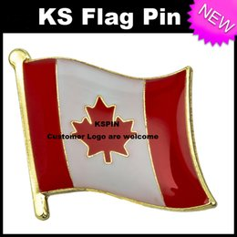 Wholesale Canada Buttons - Canada Flag Badge Flag Pin 10pcs a lot Free Shipping