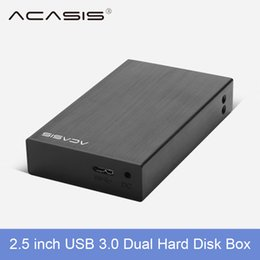 "Wholesale Dual Drive Sata - Wholesale- Acasis USB 3.0 2.5"" Dual Hard Drive Disk Raid Enclosure Support two 5TB HDD RAID0 RAID1 JBOD SPAN Aluminum Alloy 5Gbps disk box"