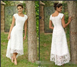 Wholesale Modest Dress Short Sleeves - White Tea Length High Low Lace 2017 Vintage Wedding Dresses Cap Sleeves Modest Wedding Gowns Elegant Pleats Custom Made Beach Bridal Gowns