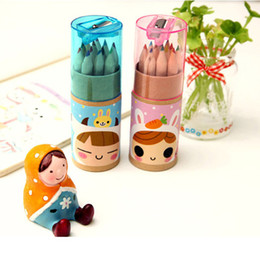 Wholesale Mini Colored Pencils Wholesale - Wholesale- 2017 new 12 Pcs   Pack Lovely Bear Cartoon Mini Colored Pencil New Ks Wooden Painting Colored Pencils Free shipping