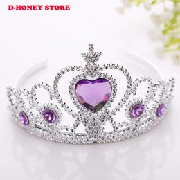 Wholesale Children Crowns Tiaras Plastic - Baby Girls Princess Hairband Child Party Bridal Crown Headband Crystal Diamond Tiara Hair Hoop Hair bands Accessories