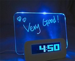 Wholesale Hand Alarm Clock - Table Clocks LED Light Digital Luminous Fluorescent Plate Hand Written Message Board Alarm Clocks USB Electronic Originality 30lz A R