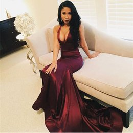 Wholesale Satin Red Floor Length Gown - 2017 Sexy Plunging V Neck Wine Red Burgundy Prom Dresses Mermaid Sleeveless Velvet Satin Floor Length Evening Gowns Party Dresses BA4623
