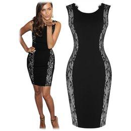 Wholesale Plus Summer Shift Dresses - New Fashion Celeb Elegant O-Veck Sleeveless Sexy Backless Lace Patchwork Party Evening Women Bodycon Sheath Shift Plus Size Dresses
