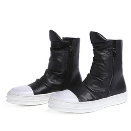 Wholesale Trendsetter Shoes - Trendsetter zipper round toe mens casual shoes ankle boots genuine leather flats boots shoes winter mens outdoor shoes