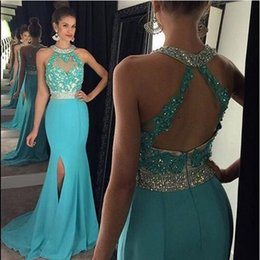 Wholesale Turquoise Short Dress Piece - Turquoise Mermaid Prom dresses 2017 Long High Neck Appliqued Beading Chiffon Evening Dress Party Gown vestido de festa
