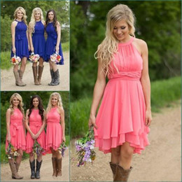 Wholesale light pink bridesmaid dress modest - Cheap Country Bridesmaid Dresses Short 2017 Coral Plus Size Modest Western Wedding Guest Gowns Knee Length Maid of Honor Under 100
