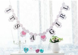 Wholesale Baby Girl Bunting - Wholesale- Newborn Baby Boy  Girl Birthday Party IT'S A BOY, it's a girl BANNER Garland Bunting Baby Shower Photo Props Party Decoration