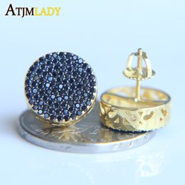 Wholesale Mens Studs Black - 2017 factory micro pave black sparking cubic zirconia gold two tone color screw back hip hop bling round mens black earring