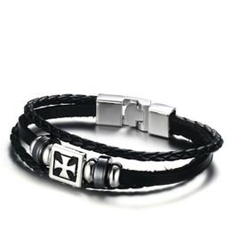 Wholesale Infinity Friends Bracelet - 2017 NEW Fashion Pirate Style Jewelry Genuine Cow Leather Cross Infinity Bracelets Bangles For Men Best Friends Gifts BL-219