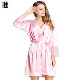 Wholesale Women Sexy Bathrobe - Wholesale- Robe Sexy Warm Sexy Pajamas Bathrobes Women Gowns Women Home Kimono Feminino Winter Dressing Gown Faux Pink Silk Robe Sleepwear