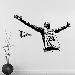 Wholesale Vinyl 24 - 69x45cm Super Sport Star Basketball Kobe Laker 24 Wall Sticker Removable Art Mural Decal for Home Decoration Children's Bedroom Room