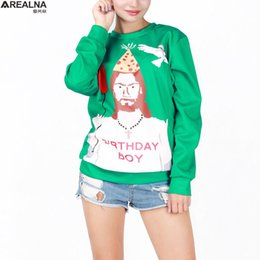 Wholesale Christmas Couple Hoodies - 3D Printed Celebrate Christmas Jumpers Women Clothes 2016 Casual Couple Sweatshirts Funny Jesus Birthday Boy Hoodie sudaderas