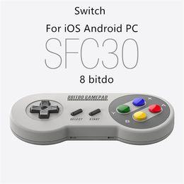 Controladores de juegos ipad online-2017 8BITDO SFC30 Bluetooth Gamepad Gamepad W / Xstand para iOS Android iPhone Samsung iPad PC MAC de alta calidad