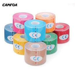 Wholesale Wholesale Knee Strap - Wholesale- 5M*5CM Waterproof Breathable Elastic Kinesiology Muscles tape sport Fitness Strain Injury Guard Muscles Care Adhesive Tape Strap