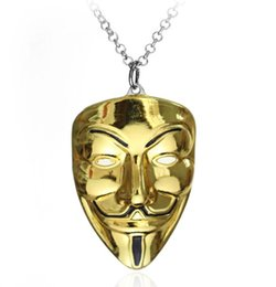 Wholesale Silver Mask Charms - Europe Around Film V Killers Mask Necklace Pendants Tide Male Hip - Hop Accessories Wholesale Gold Chains Choker For Men Jewelry Gift
