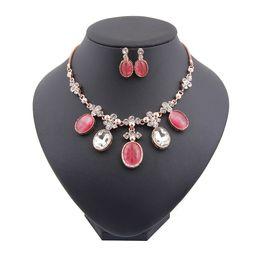 Wholesale Pink Crystal Bib - Women Jewel Sets Crystal Pendant Bib Statement Chain Necklace Fashion Ellipse Earring