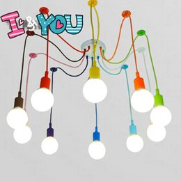 Wholesale Head Lamp Shop - Colorful Pendant Lamp 10 Heads Multi-colored Silicone E27 Art Pendant Lights For Modern Bar Restaurant Bedrooms Shopping Mall