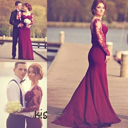 Wholesale Sexy Catch - Eye-Catching Burgundy Lace Mermaid Evening Dresses Sweetheart Sheer Long Sleeves Court Train Prom Gowns Engagement Dresses