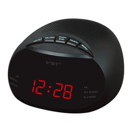 Wholesale Table Clocks Timer - Wholesale-Mini LED Digital Radio Timer Alarm Clock With Backlight Built In Speaker Two Groups Alarm Clock AM FM Table Desk Clock Radio