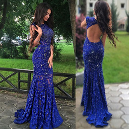Wholesale one piece jacket short - Royal Blue Lace Prom Dresses Sparkly Crystals Open Back Sleeveless Mermaid See Through 2017 Women Pageant Evening Gowns Long Party Dress