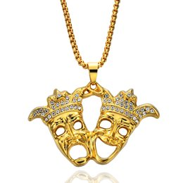 Wholesale Crystal Mask Necklace - HIP Hop Rock Iced Out Bling Clown Double Droll Mask Pendants Necklaces for Men Jewelry N587