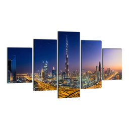 Wholesale Painting Home Images - 5 Panel Digital Picture Print on Canvas Modern City Architecteur Landscape Wall Art Painting Images for Home Decoration