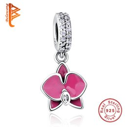 Wholesale Loose Dangling Beads - BELAWANG Summer Charms Silver Orchid Dangle Charm crown 925 Ale Sterling Silver Charms Loose Beads DIY Jewelry for Thread Bracelet