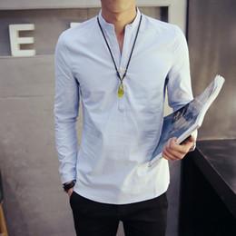 Wholesale Chinese Blouse Fashion - Wholesale- Solid Color V-neck Long Sleeve Autumn New Fashion Men Shirts Leisure Plus Size Chinese Style Blouses