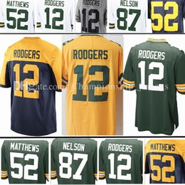 Wholesale Clay Matthews - Men's 12# Aaron Rodgers Jersey 52 Clay Matthews 87 Jordy Nelson Stitched Embroidery jerseys Free Shipping