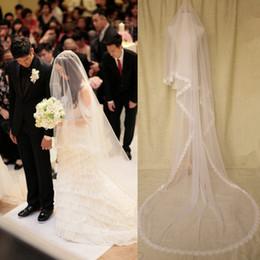 Fairy 3m long velos de novia tul suave con apliques florales Edge velos largos de la boda nueva llegada barato 2017 blanco, marfil desde fabricantes