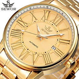 Wholesale Mechanical Designer - Wholesale- 2017 SEWOR Gold Full Stainless Steel Automatic Mechanical Watch Men Auto Date Designer Mens Watches Clock Male Relogio Masculino