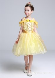 Wholesale Satin Chinese Style Dress - Girls Dress Beauty and Beast Princess Belle Dress Costume Kids Party Full Dress formal off shoulder girls dresses Skirt GD29