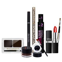 Wholesale Women Make Up Gift Set - Wholesale- Sexy Ladies Travel Makeup Gift Set Eyebrow Powder Eyeliner Mascara Sexy Red Lipstick Lip Brush Nake Make Up Cosmetics Women