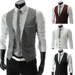 Wholesale chaleco slim fit - Wholesale- Fashion 2016 Mens Black White Light Grey Business Slim Fit Dress Vest Suit Formal Men Waistcoat Wedding Chaleco Hombre M-XXXL