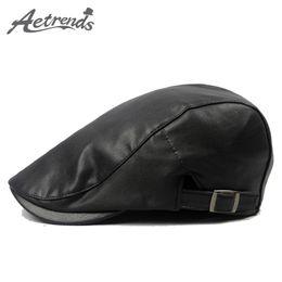Wholesale Leather Berets - Wholesale-[AETRENDS] 2016 New PU Leather Visor Cap Men's Berets Fashion Autumn Winter Beret Hats for Men Z-3979