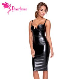 Wholesale Stretch Leather Dresses - Celeb Fashion Knee Length Ladies Sexy Club Party Stretch Black Faux Leather Spaghetti Strap Padded Midi Dress LC60576 17410