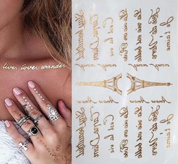 Wholesale Text Stickers - Wholesale- Gold and Silver tatoo waterproof letter tattoos Eiffel Tower text art tattoo shiny golden text pattern body tattoo stickers