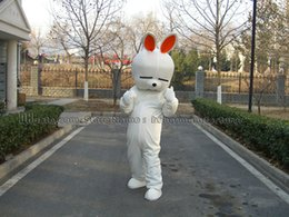 Wholesale High Quality Rabbit Costume - white rabbit mascot costume free shipping lovely high quality hare mascot adult plush mascot type of discount.