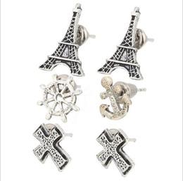 Wholesale Eiffel Earrings - Simple combination of stud earrings cardboard set of anchor cross Eiffel Tower stud earrings jewelry wholesale